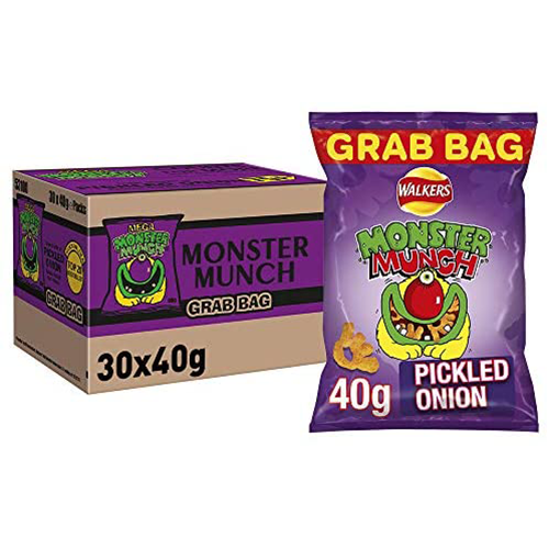 Monster munch, a legendary UK crisp. Perfect in the pubs, bars, cafes and even as snacks at home. The pickled onion flavour seems to be be the favourite with the nation.